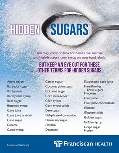 """To uncover sources of sugar in your diet, read the ingredients label of every food you buy, including those you may not associate with sugar, like yogurt, protein bars, whole grain cereals and even some salty snacks. And just because a label says no """"high-fructose corn syrup"""" doesn't mean it's free of all added sugars. Palm Sugar, Agave Nectar, Food Labels, Coconut Sugar, Corn Syrup, Wellness Tips, International Recipes, Health Tips, Foundation"""