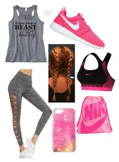 """""""Grey and Pink Athletic"""" by ambyclark on Polyvore featuring NIKE and Missguided"""