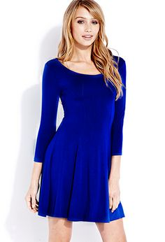 Blue Skater dress, but with full sleeves. Pair with booties. Cardigans, belts & tights. Vests. Jackets, etc.