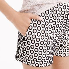 """J Crew Punched Out Eyelet Short Brand new in plastic with tags. Not from outlet/Factory. Cotton. Lined. Machine wash. Sits at hip. 3"""" inseam. Dark navy embroidered punches. Out of town Nov 25-30. Can ship upon return J. Crew Shorts"""