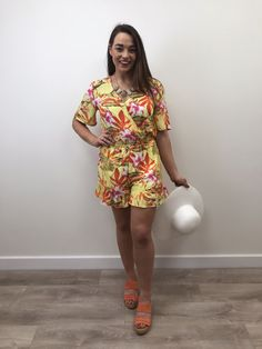 Tiffosi present the Olivia tropical print playsuit which is perfect for summer. Designed with a wrap over bodice, a comfortable elasticated waist, fri Tropical, Short Sleeves, Short Sleeve Dresses, Leg Cuffs, Festival Fashion, Playsuit, No Frills, Bodice, Fashion Inspiration