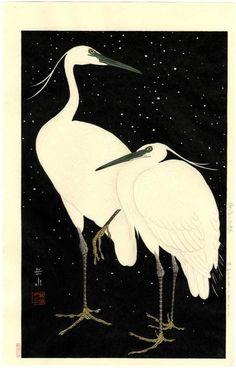 GAKUSUI Japanese Woodblock Print - Herons in Snow (Black Background) - 1950 | eBay