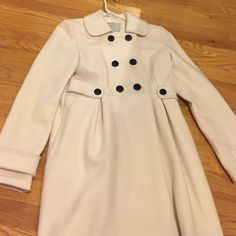 Old Navy White/Cream Pea Coat W/ Black Buttons Xs