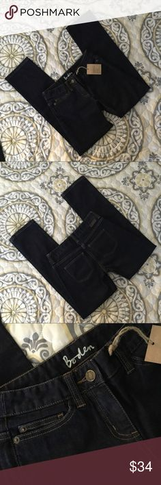 """NWT Boden Straightleg Jeans SZ US 2P New Boden straight leg jeans in indigo dark wash. Brand new with tags and no flaws. True to size in my opinion. Please check measurements against your own for accurate sizing. US 2P. 28"""" inseam, 8"""" rise, 13.5"""" waist. Good stretch. Currently sold out online with comparable styled at $45. Boden Jeans Straight Leg"""