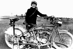 Woman and her Harley 1912 on PEI.