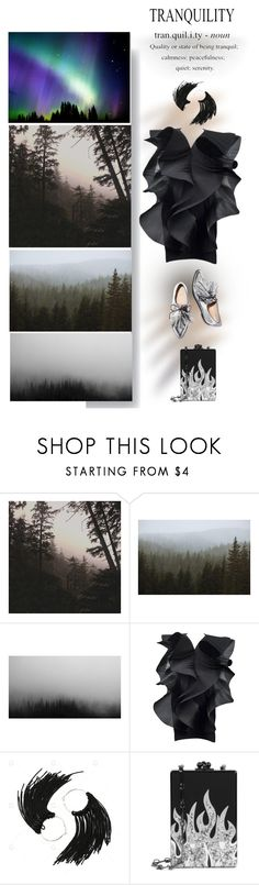"""In the forests"" by katarinaf ❤ liked on Polyvore featuring Leah Flores, Kevin Russ, Pierre Cardin, Edie Parker, Dark and futuristic"
