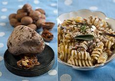 Pasta mit Sahne, Nüssen und Kräutern