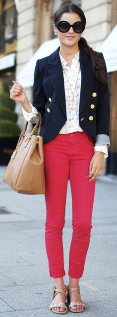 blue blazer, red pants, print blouse