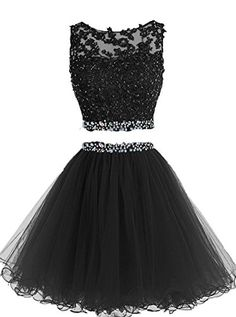 HTYS Beaded Two Pieces Prom Dresses Applique Short Homeco...
