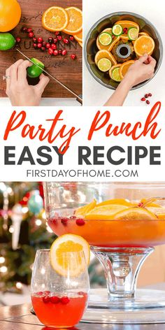 Make a refreshing party punch with prosecco, fruit and Italian soda, perfect for a crowd. This recipe comes with alcoholic and non-alcoholic options. Punch Recipe For A Crowd, Easy Punch Recipes, Food For A Crowd, Best Christmas Punch Recipe, Christmas Recipes, Sparkling Grape Juice, Cocktail Recipes, Cocktails, Drink Recipes