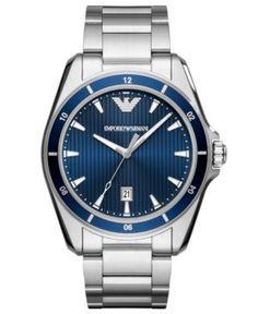 Emporio Armani Men's Stainless Steel Bracelet Watch 44mm - Silver