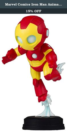 """Marvel Comics Iron Man Animated Statue, Full Color, 8 x 2 x 2.5"""". """"Blasting off to adventure, this adorable iron man is the next statue in gentle giant Ltd animated styled Marvel statues! this iron man collectible was digitally sculpted, and then printed out on state of the art 3D systems printers. The 3D prints were then used to create the prototypes needed to produce this fun-filled statue of iron man! the animated design of this iron Avenger is inspired by artwork found in the pages…"""