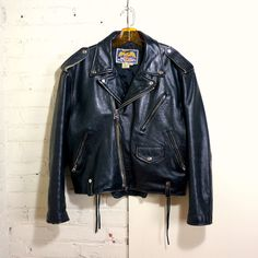 TiyeTradingPost - Motorcycle Jacket 1980s Vintage Black Leather Biker  Jacket Mens SMALL Sturdy Moto Jacket Multi Zip Side Lacing Pistol Pocket Biker Jacket Avirex
