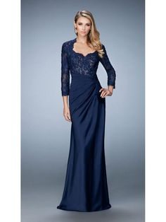 Elegant 3/4 Length Sleeves Long Navy Lace Chiffon Mother of The Bride Dresses 1603010