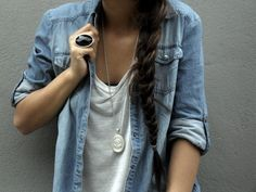 slouchy denim button up over loose white tank. great spring/summer look
