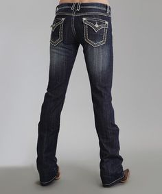 Look at this #zulilyfind! Dark Indigo Stitch Flap-Pocket 818 Bootcut Jeans - Women & Plus #zulilyfinds
