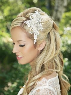 Ivory Lace bridal hair comb Crystal Bridal Lace by GildedShadows, $188.00