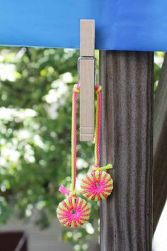 Make Neon Tablecloth Weights, now I know what to do with those scrap of yarn :D