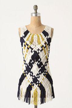 Looks comfy, snazzy pattern, macrame argyle tunic