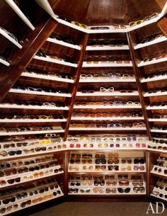 Elton John's astonishing collection of sunglasses, which he has been amassing since the mid-1970s.