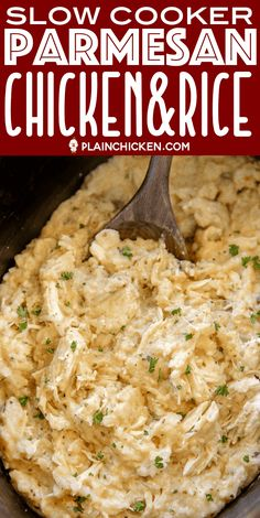 Slow Cooker Parmesan Chicken & Rice – a quick and easy weeknight recipe! Just du… Slow Cooker Parmesan Chicken & Rice – a quick and easy weeknight recipe! Just dump everything in the slow. Slow Cooker Huhn, Slow Cooker Recipes, Cooking Recipes, Healthy Recipes, Beef Recipes, 5 Ingredient Crockpot Recipes, Diabetic Recipes Crockpot, Slow Cooking, Recipes