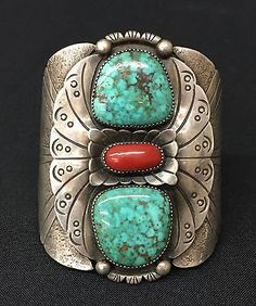 Cuff-Bracelet-Native-American-Indian-Dead-Pawn-Sterling-Turquoise-Coral