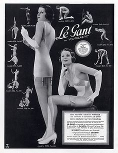 1934 ad showing models in their Le Gant girdles and nylon stockings.