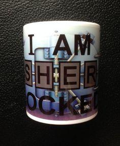 Sherlock Holmes I Am Sherlocked Mug by Hx5Designs on Etsy, £6.99