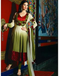 Party Wear Churidar Suit Item code : SLKDE2500   http://www.bharatplaza.in/new-arrivals/salwar-kameez/party-wear-churidar-suit-slkde2500.html  Attractive olive green and cream color shaded georgette kameez with amazing resham embroidered floral design on yoke part and velvet patch hemline are marvelous. Paired with olive green color churidar and shaded dupatta. Make your collection more attractive charming with this dazzling churidar suit.