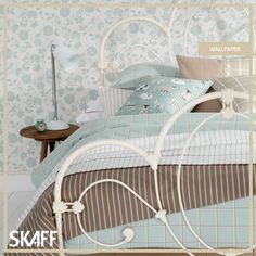 In a cheerful shade of light blue, match your bedroom fabric to your wallpaper design!  E-mail us for more info at skaff@skaffgroup.com.  #skaffgroup #skafflebanon #skafffabrics #skaffinteriors #interiordesign #homedecor #homedesign #interiordesigners #wallpaper #upholstery