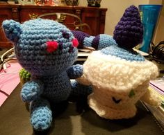 #bulbasaur has joined the #fambam!  Who should join next? And yes, that is a #wip in the background. I'll pick up that #project soon since my Yarn arrived in the mail today!   #craft #crochet #crocheting #knitting #art #yarn #crochetaddict #knit #amigurumi #pokemon #pokemon20 #litwick #pokemongo #plush #gamer #gamerGirl #nintendo #litwick #demigyarnbarn