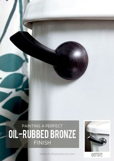 A toilet handle makeover may not be the most glamorous project but it can make a difference when updating a bathroom. Instead of buying a new handle upgrade your existing silver one by painting it with an oil-rubbed bronze finish.