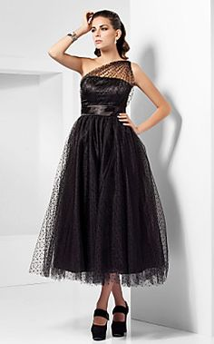I love THIS !!!!! A-line One Shoulder Tea-length Tulle Cocktail Dress Inspired... – USD $ 129.99