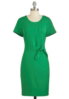 State of the Start-Up Dress. Make a poised pitch for your fast-rising tech company wearing this short-sleeved, bright-green sheath, which will be available for purchase in June! #green #modcloth