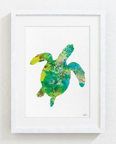 Green Sea Turtle Art - Watercolor Painting - 5x7 Archival Print - Nature - Green Teal Yellow Turtle Silhouette Art, Sea Prints Home Decor