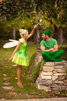 DIY Couples Halloween Costume Ideas - Peter Pan and Tinkerbell Disney Theme Couple Halloween Costume Idea college costume, happy costume, Halloween costume