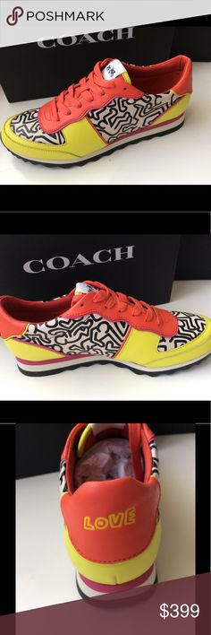 Fashion Sneaker Keith Haring for Coach One of a kind New in the box trendy sneakers Lace up shoes from Coach. All Leather  on top. Keith Haring art design ( black and white ). They are Size 8.5 but they fit like size 9  . Regular Soft fit great comfort. Matching bag/ and or wallet can be purchased with these shoes. Please ask me about these additional items .  Also same sneaker available in black color . Ask me about other size . You can not find these shoes on , very line limited edition…