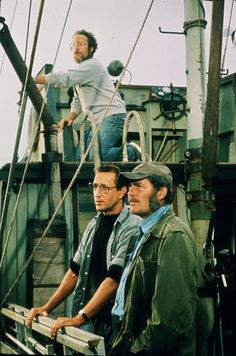Richard Dreyfus, Roy Scheider and Robert Shaw in Jaws 1975