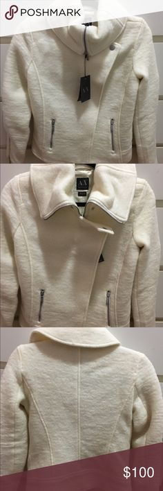 Armani Exchange Jacket White Armani Exchange Jacket. Size small, 60%wool and 40%polyester lining, and 3% spandex. Armani Exchange Jackets & Coats Pea Coats