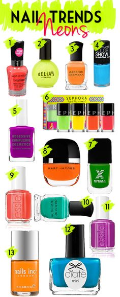 Get ready for summer with these bright and vibrant neon nail polish picks! From pinks and oranges to blues and greens there is a neon nail polish for you!