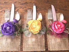 Burlap Silverware Holder\'s Silk Flowers  Pink Yellow or