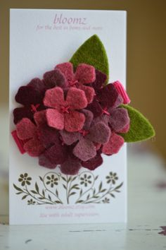 Felt Flower Hydrangea Hair Clip In Burgundy Plum and by bloomz
