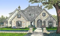 Plan European, French Country, Corner Lot House Plans & Home Designs home country Plan European Styling with Options French Country Exterior, French Country House Plans, European House Plans, French Country Bedrooms, European Home Decor, French Cottage, French Country Style, European Style, Country Houses