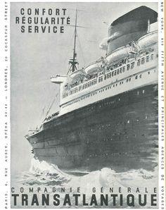 Compagnie générale transatlantique: confort, régularité, service - Réalités n°80, septembre 1952.