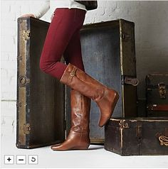 2b6eb51836a Preowned Steven by Steve Madden Intyce Cognac Leather Wedge Heel Boot Sz