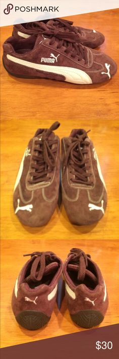 Puma Sneakers- NWOB- chocolate brown - size 7 Puma Sneakers in a delicious chocolate brown suede. Never worn- new, without box. I don't know why I bought a 7 since I wear an 8. I guess they were too cute to pass up! All items are from my home- everything is fresh and clean! Puma Shoes Sneakers