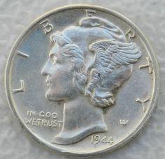 1944 Mercury Dime 90% Silver  BU US Coin $9.25 + $2.25 Shipping