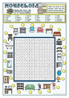 HOUSEHOLD ITEMS WORD SEARCH worksheet - Free ESL printable worksheets made by teachers