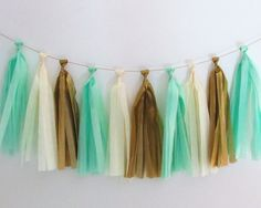 Gold and Mint Tissue Paper Tassels
