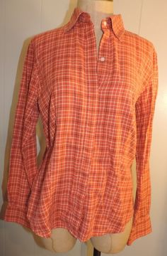 Woman's Brooks Brothers Small Rust Plaid Cotton Long Sleeve Fitted Button Shirt #BrooksBrothers #ButtonDownShirt #Casual